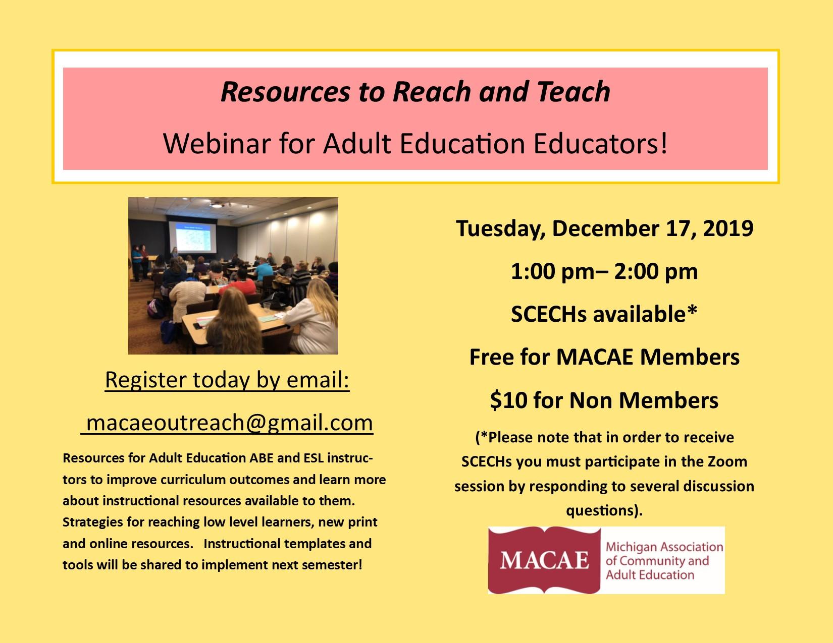 Resources to Reach and Teach Virtual Webinar